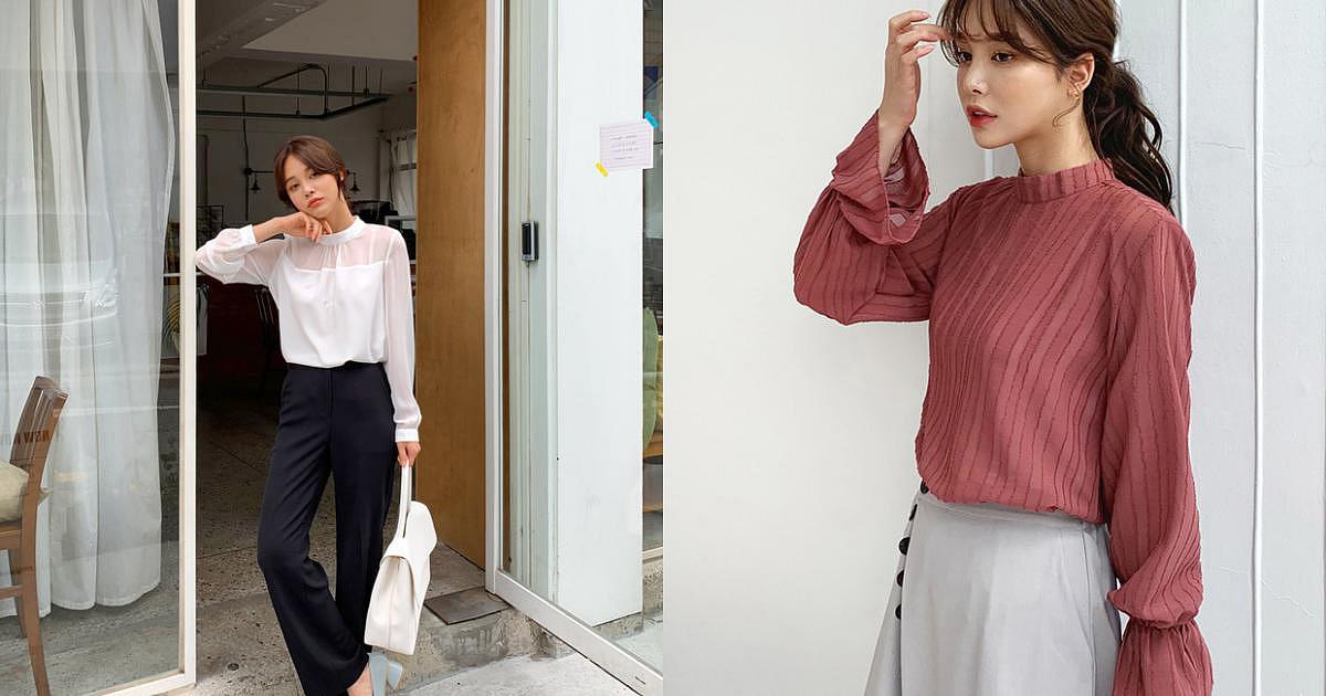 Áo blouse cổ cao