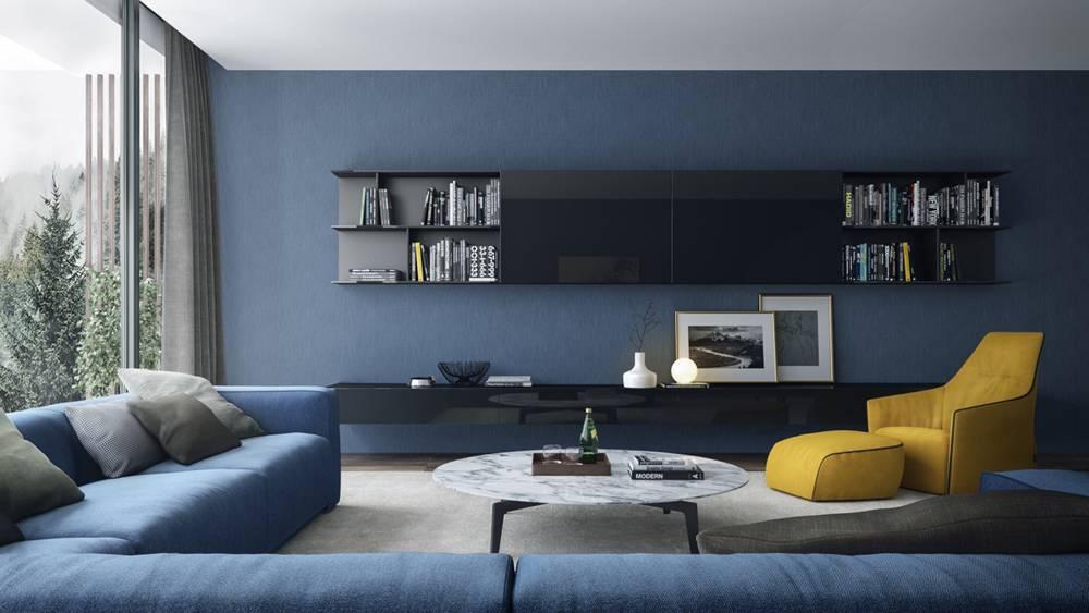 Phòng khách tràn ngập sắc xanh biển
