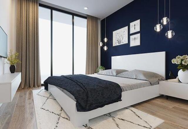 Màu tương phản cho phòng ngủ nhỏ trông rộng hơn