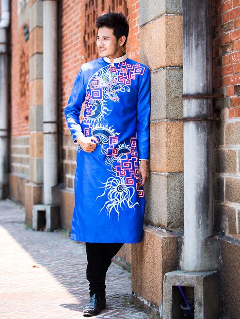 áo dài gam xanh dương